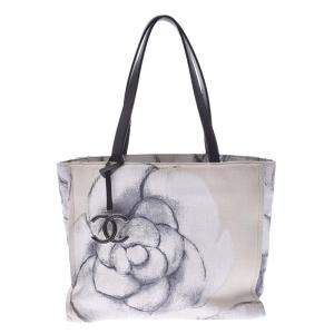 Chanel White/Black Canvas And Leather Camellia Tote