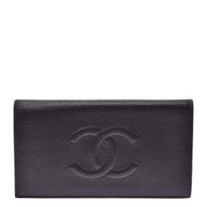 Chanel Dark Brown Leather Timeless Wallet