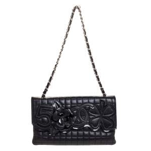 Chanel Black Square Quilted Leather Camellia No.5 Shoulder Bag