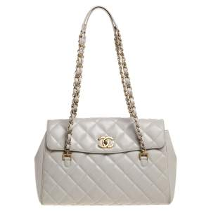 Chanel Grey Quilted Leather Flap Shoulder Bag