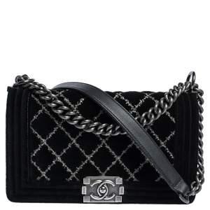Chanel Black Stitch Quilted Leather Medium Boy Flap Bag