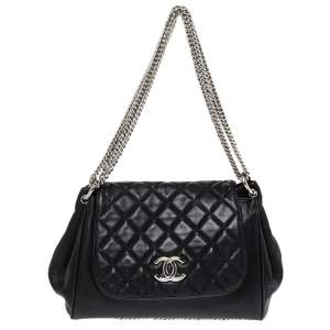 Chanel Black Quilted Leather Chain Around Accordion Flap Bag