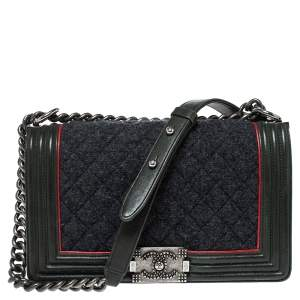 Chanel Green/Grey Quilted Leather and Wool Medium Boy Flap Bag