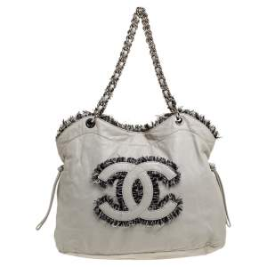 Chanel Light Grey Leather and Tweed Drawstring CC Tweedy Tote