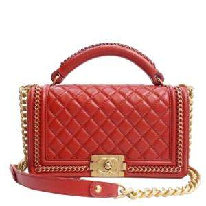Chanel Red Leather Medium Boy Top Handle Bag