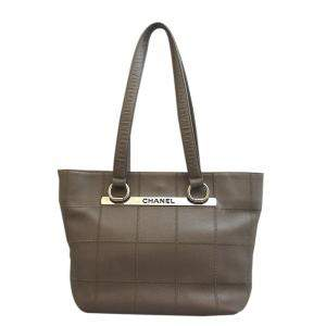 Chanel Grey Leather Chocolate Bar Tote