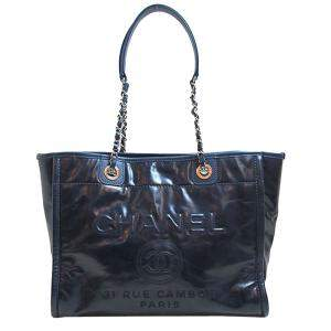 Chanel Navy Blue Leather Large Deauville Tote Bag