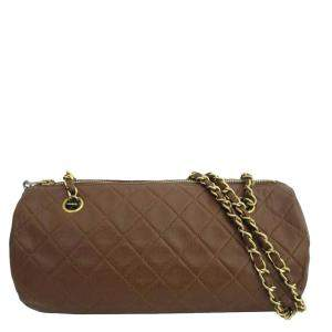 Chanel Brown Quilted Lambskin Leather Shoulder Bag