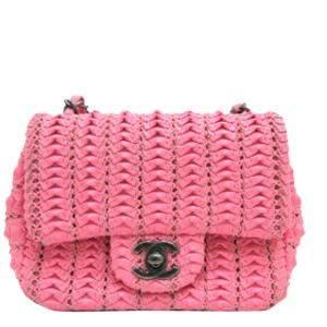 Chanel Pink Canvas Paris-Seoul Crochet-Work Flap Bag