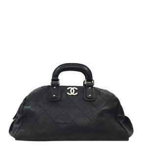 Chanel Black Caviar Skin Leather Wild Stitch Vintage Boston Bag