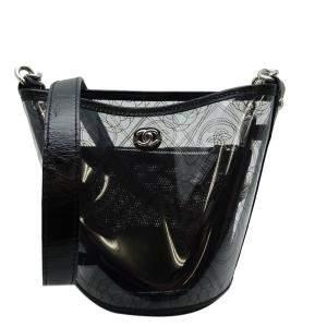Chanel Black Vinyl PVC Bucket Shoulder Bag
