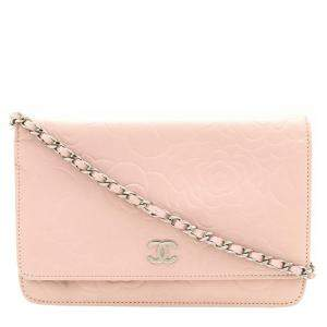 Chanel Pink Leather  Camellia Wallet On Chain