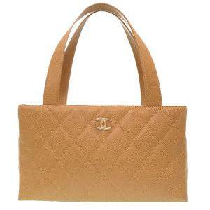 Chanel Beige Caviar Leather Tote Bag