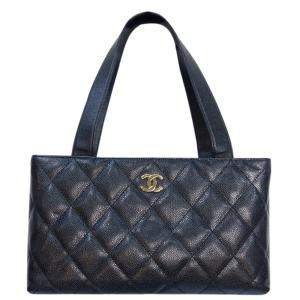 Chanel Black Caviar Leather Vintage Tote Bag