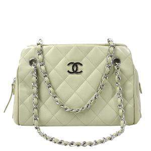 Chanel White Caviar Leather Chain Shoulder Bag