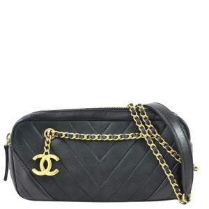 Chanel Black Leather V Stitch Vintage Shoulder Bag