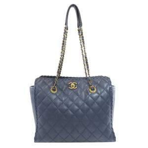 حقيبة كتف شانيل فينتدج جلد مبطن أزرق كحلي