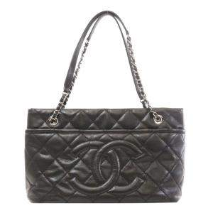 Chanel Black Caviar Quilted Leather Vintage Tote Bag