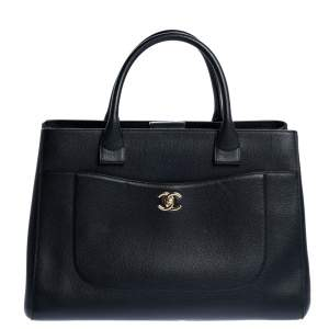 Chanel Black Leather Large Neo Executive Shopper Tote