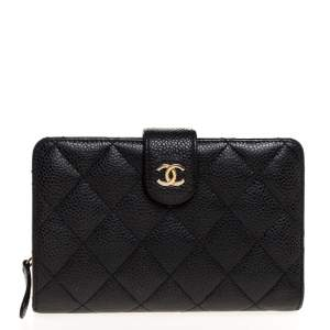 Chanel Black Quilted Caviar Leather L-Zip Wallet