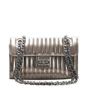 Chanel Silver Stitch Leather Patent Leather Shoulder Bag