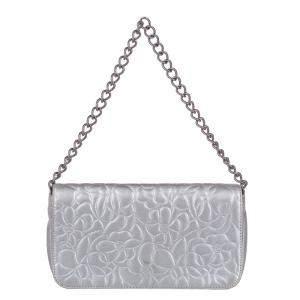Chanel Silver Lambskin Leather Camellia Shoulder Bag