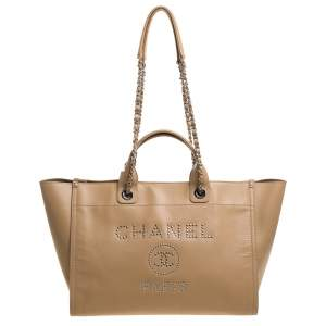 Chanel Beige Leather Large Studded Logo Deauville Tote