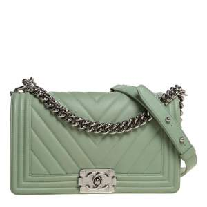 Chanel Light Green Chevron Leather Medium Boy Flap Bag
