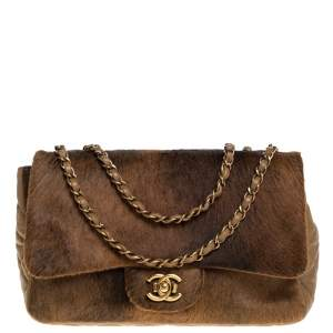 Chanel Brown Quilted Leather and Calfhair Single Flap Bag
