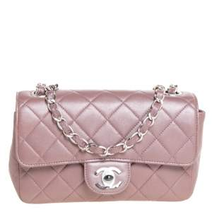 Chanel Metallic Pink Quilted Leather Extra Mini Classic Flap Bag
