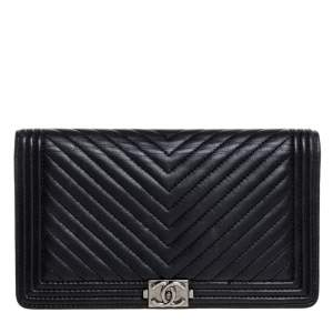 Chanel Black Chevron Leather Boy Wallet