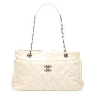 Chanel White Leather Wild Stitch Tote