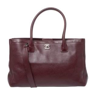 Chanel Burgundy Leather Large Cerf Executive Tote