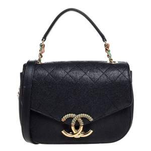 Chanel Black Caviar Quilted Leather Coco Curve Flap Bag