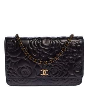 Chanel Metallic Bronze Leather Camellia Wallet on Chain