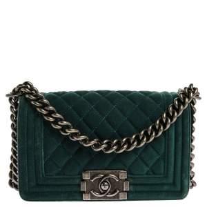 Chanel Dark Green Velvet Small Boy Flap Bag
