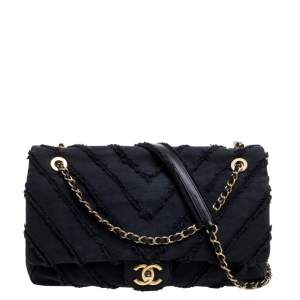 Chanel Dark Blue Chevron Denim Single Flap Bag