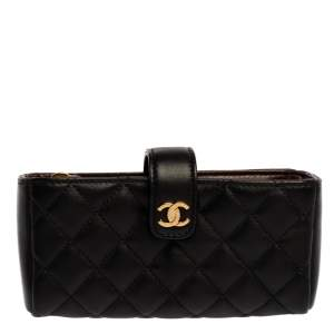 Chanel Black Quilted Leather CC Phone Holder Clutch