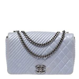 Chanel Powder Blue Diamond Quilted Chevron Leather CC Flap Bag