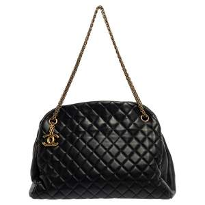 Chanel Navy Blue Quilted Leather Medium Just Mademoiselle Bowler Bag