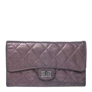 Chanel Metallic Bronze Quilted Leather Reissue Trifold Wallet