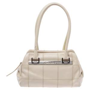 Chanel Off White Choco Bar Quilted Leather Logo Satchel