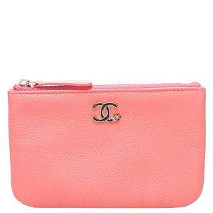 Chanel Pink CC Caviar Leather Wallet