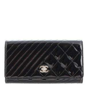 Chanel Black Patent Leather Coco Boy Flap Wallet