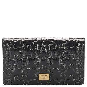 Chanel Black Patent Leather Puzzle 2.55 Long Wallet
