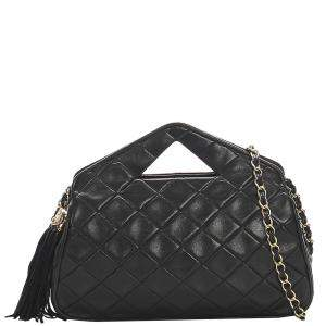 Chanel Black Quilted Lambskin Leather Satchel Bag
