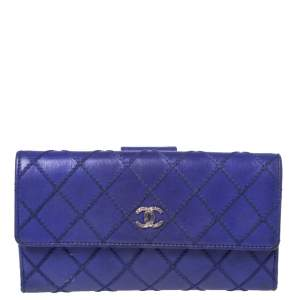 Chanel Blue Ultimate Stitch Quilted Leather CC Flap Continental Wallet