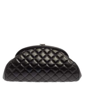 Chanel Black Quilted Caviar Leather Timeless Clutch
