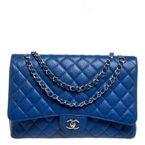 Chanel Blue Quilted Caviar Leather Maxi Classic Double Flap Bag