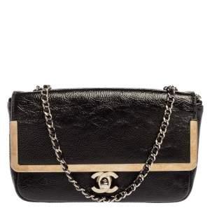 Chanel Black Patent Leather Frame CC Flap Shoulder Bag